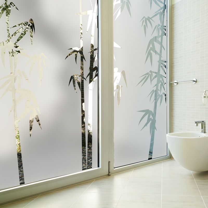 Ideal Pour Occulter Vos Vitres De Salle De Bain Ce Sticker Depoli Avec Le Motif Bambou Apportera Du Zen A Votre Interieur