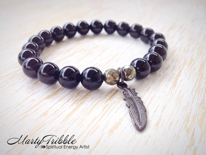 Onyx & Pyrite Feather Charm Bracelet » Healing Bracelet » Tribal Bracelet by MartyTribble on Etsy