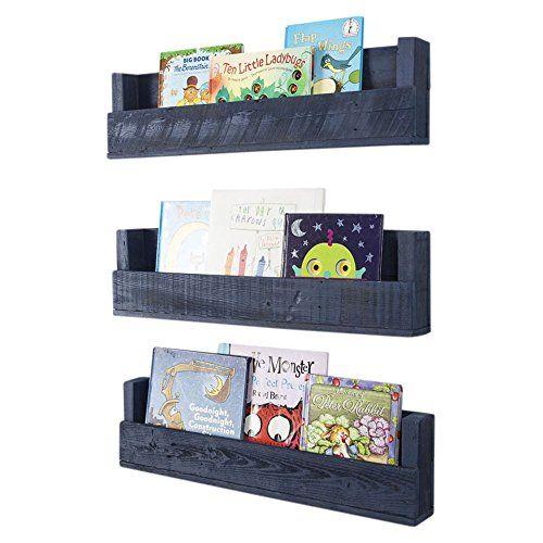 Nursery Bookshelves 28 Inch Set Of 3 Wall Mount Handmade Rustic Reclaimed Wood Navy Blue