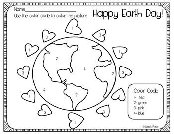 Color Recognition Sheet And Pictures Help Children Learn Recognize Words Numbers While Coloring Earth Day