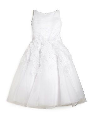 Joan Calabrese Girl's Beaded Leaf First Communion Dress