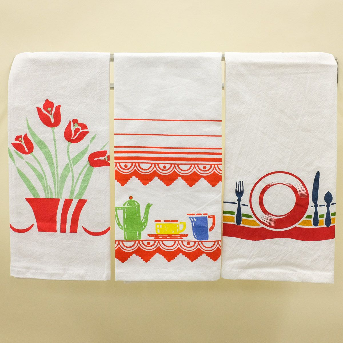50s Retro Kitchen Dish Towel Set of 2 Flour Sack Cotton_D ...