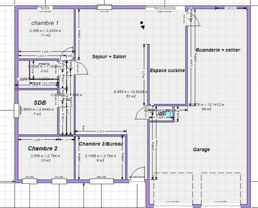 plan d'un appartement de 100m2
