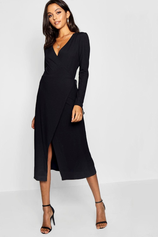 Tall Rib Wrap Jersey Dress Boohoo Uk In 2020 Wrap Around Dress Jersey Dress Buy Dress [ 1500 x 1000 Pixel ]