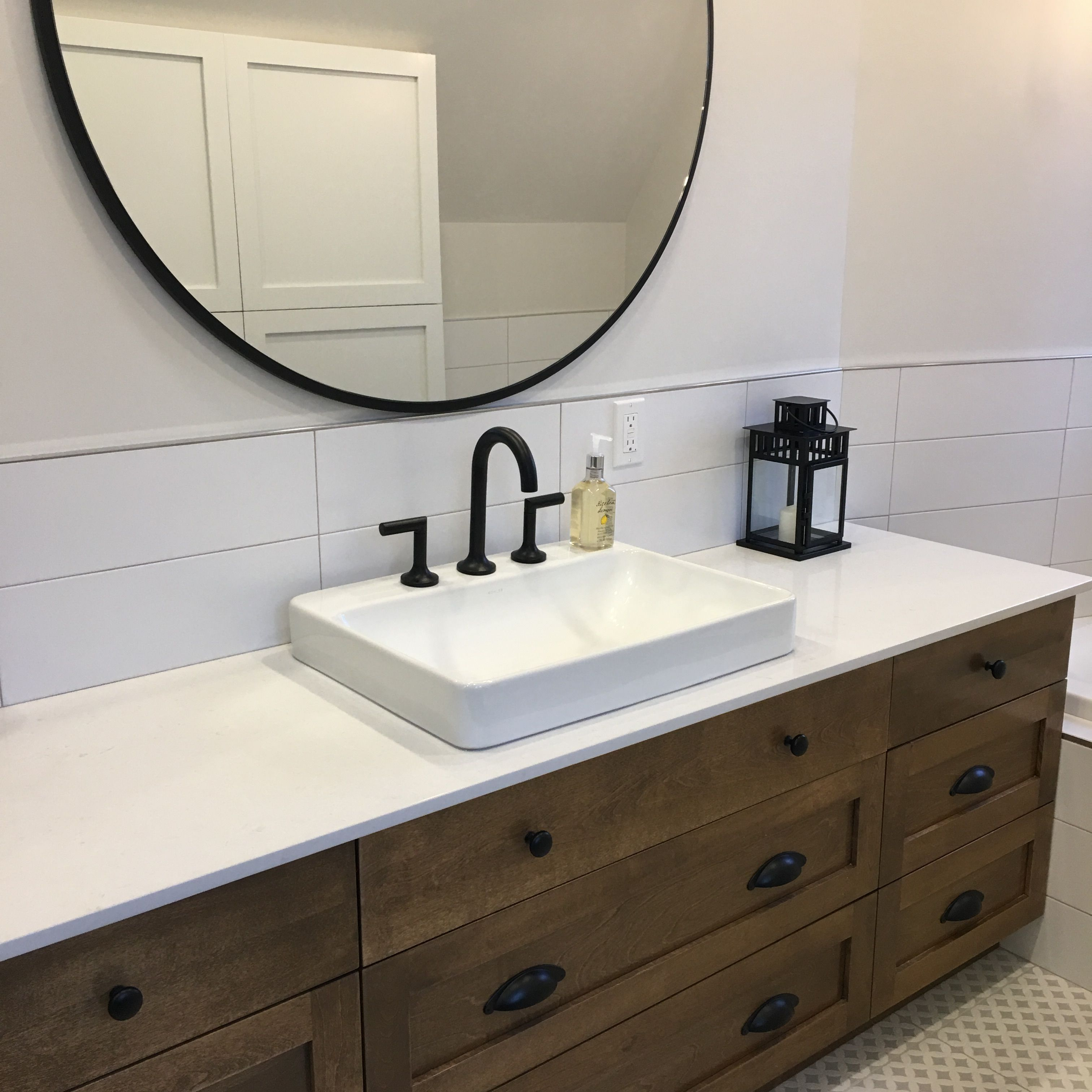 Casparcas inc farmhouse bathroom wood white quartz