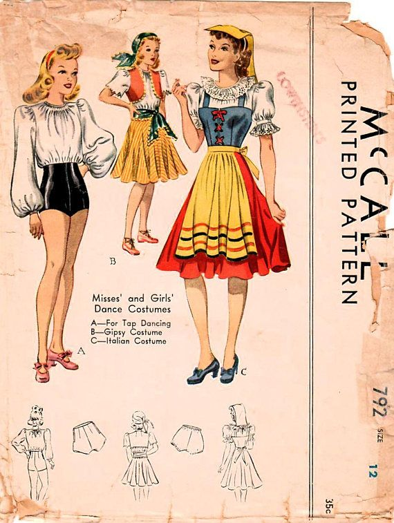 1940s McCall 782 Vintage Sewing Pattern Girls and Misses Dance ...