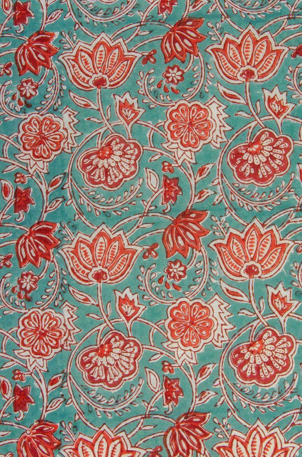Stoff Blumen Blutenranken In Orange Weiss Blockprint Indien Ein Designerstuck Von Garnfaktur Bei Dawanda Stoffe Zum Nahen Stoff Muster