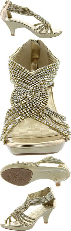 4a2b6caaa1d JJF Shoes Angel37 Gold Strappy Rhinestone Dress Sandal Low Heel Shoes-10
