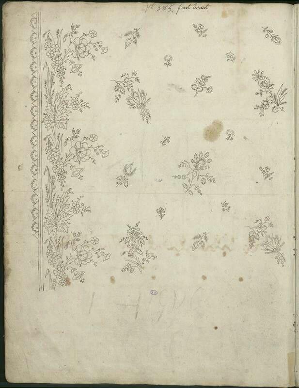 Motif de broderies époque Premier Empire, dessin de Bony, conservé ...