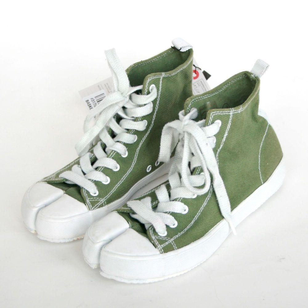 MAISON MARTIN MARGIELA split toe tabi sneakers green canvas hi top shoes  38-IT  MaisonMartinMargiela  FashionSneakers  tabi  margiela  sneakers 71b6507fb450