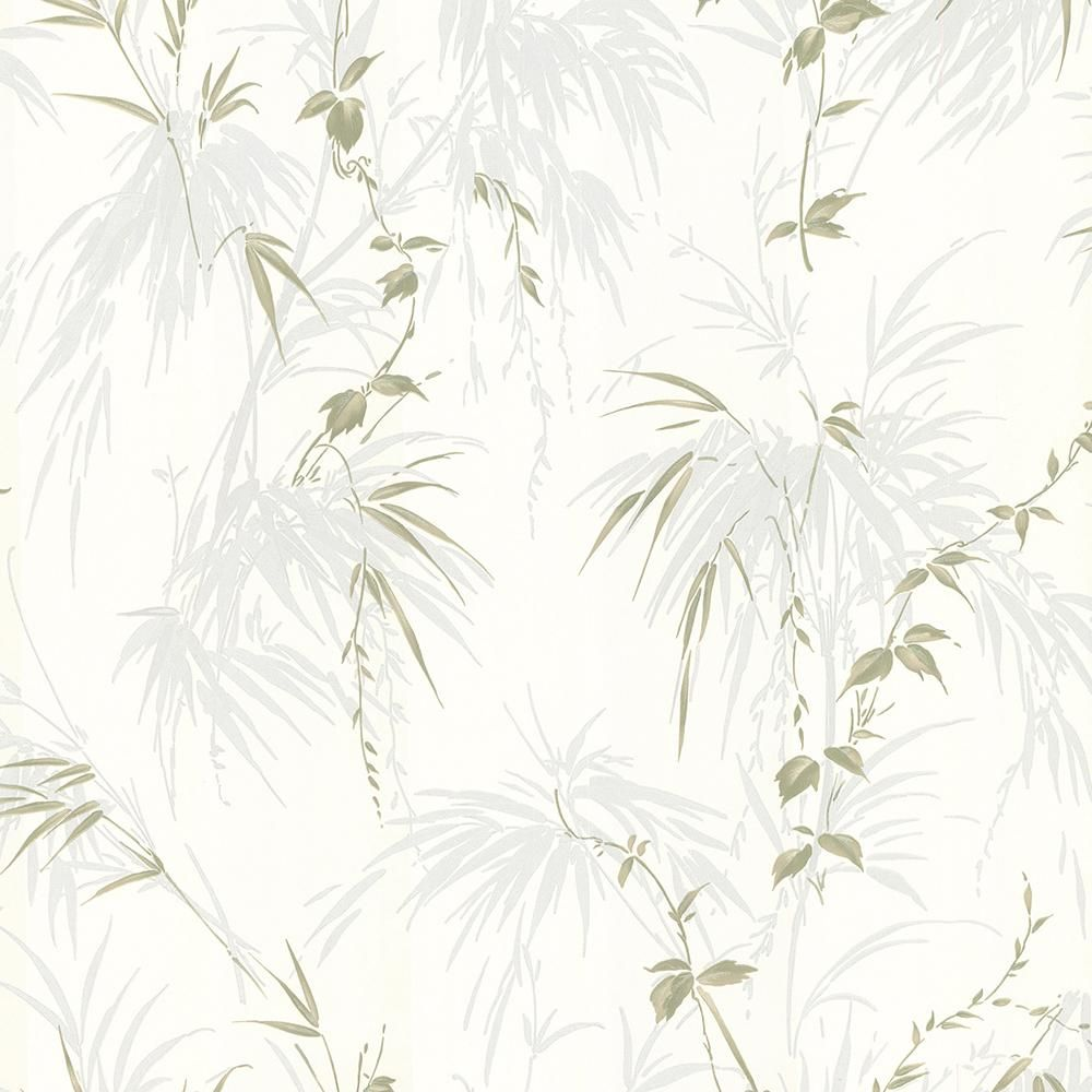 Brewster Zumi Blue Palm Leaves Wallpaper Sample 2704