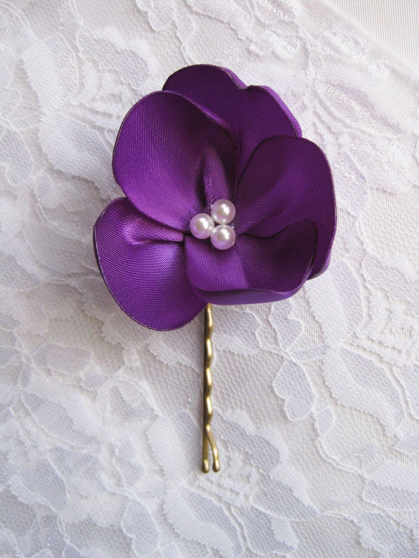 purple flower hair piece. purple flower hair pin. wedding
