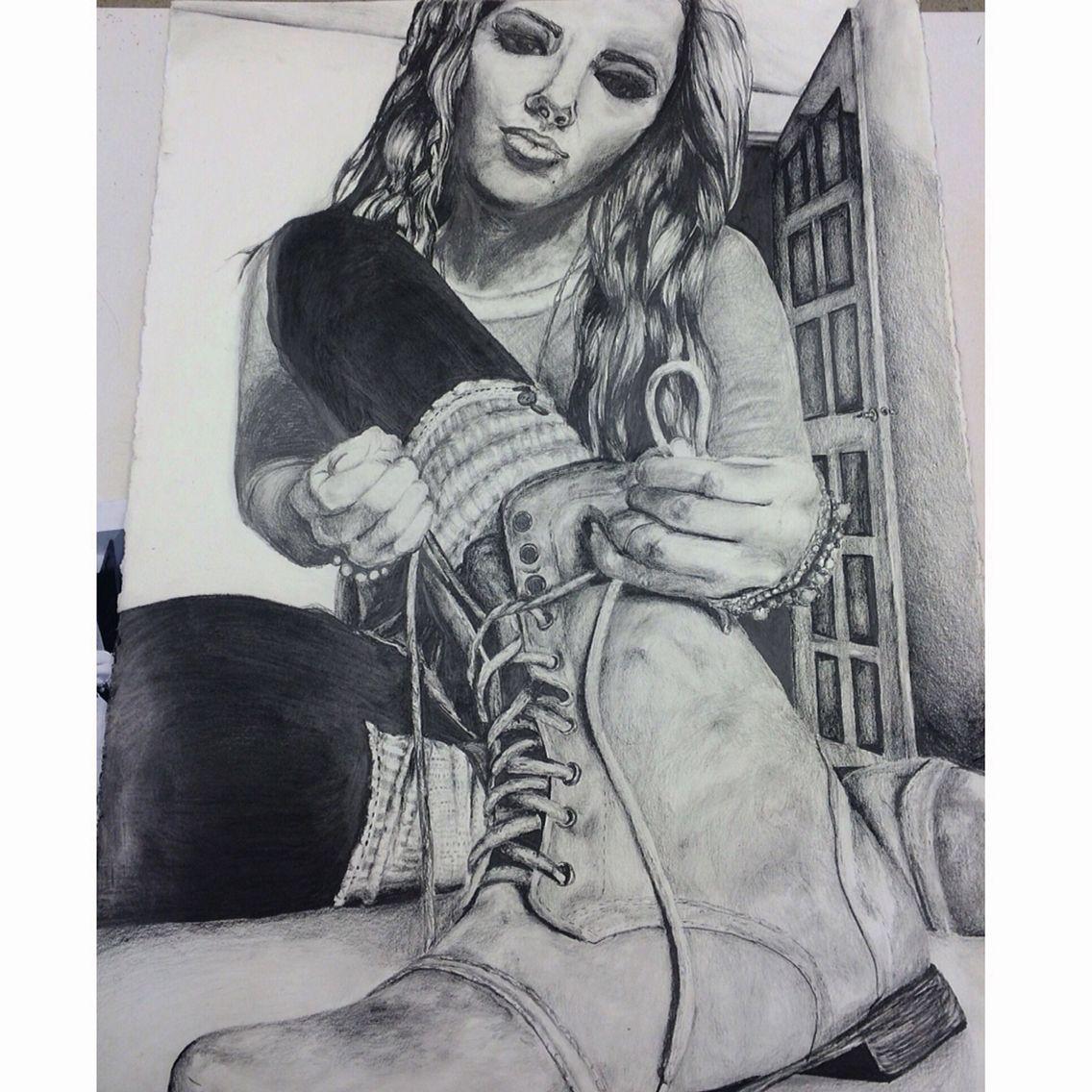 Forshortened Self Portrait With Graphite Ap Studio Art