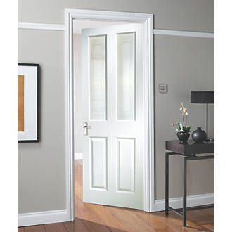 Jeld Wen Oakfield 4 Panel Glazed Interior Door Primed 1981 X 762mm Internal Timber Doors Screwfix White Interior Doors Doors Interior Internal Glass Doors