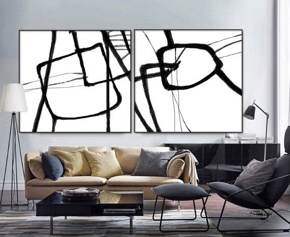 Set Of 2 Extra Large Acrylic Painting On Canvas by ArtCAStudio
