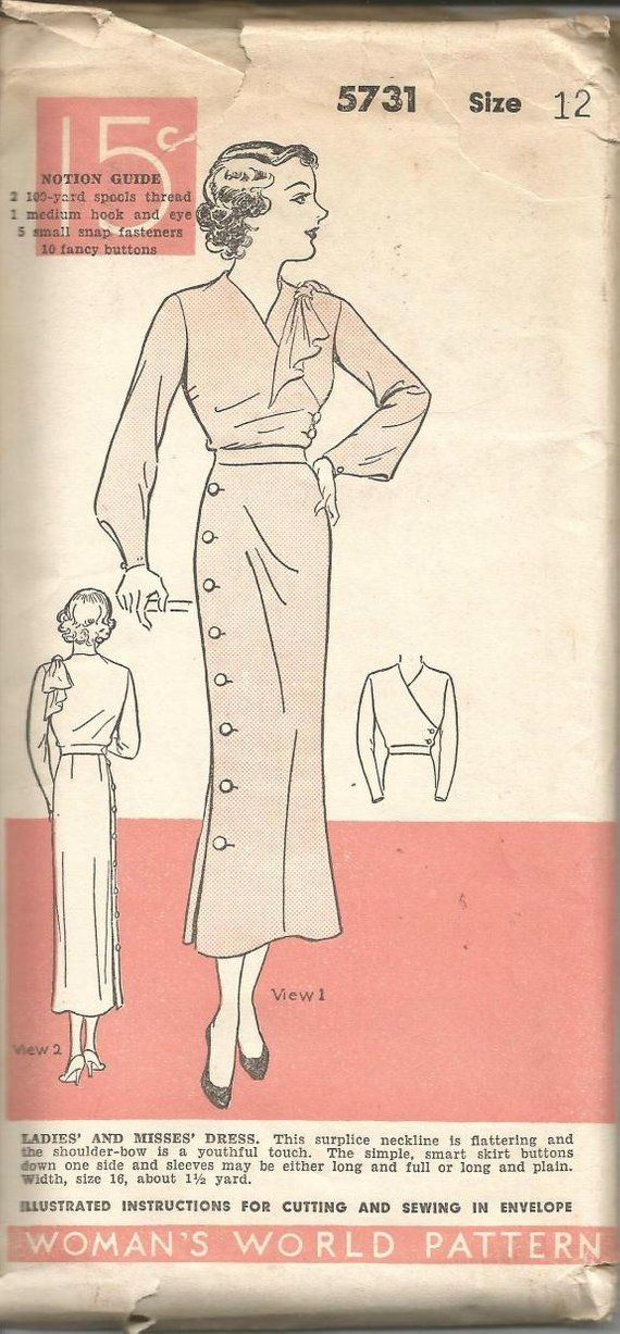 1930s Surplice Bodice Side Button Skirt Shoulder Bow Long Sleeves ...