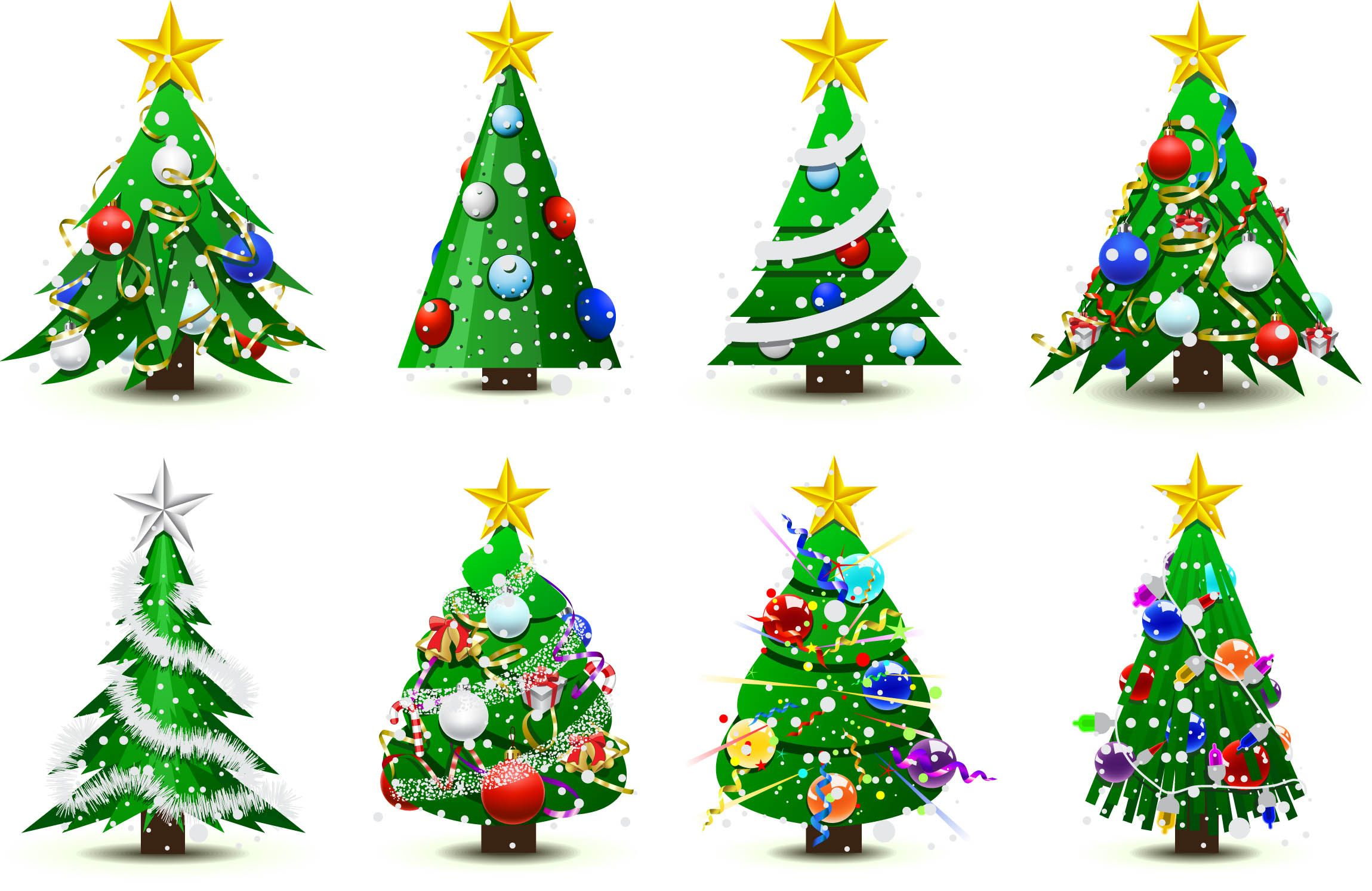 Free Vector Gorgeous Christmas Tree Vector Christmas Tree Design Christmas Tree Decorations Tree Icon
