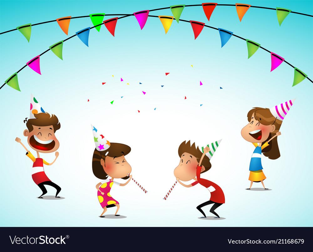 Cartoon Kids Party Birthday Celebration Royalty Free Vector In 2020 Cartoon Kids Kids Party Vector Free