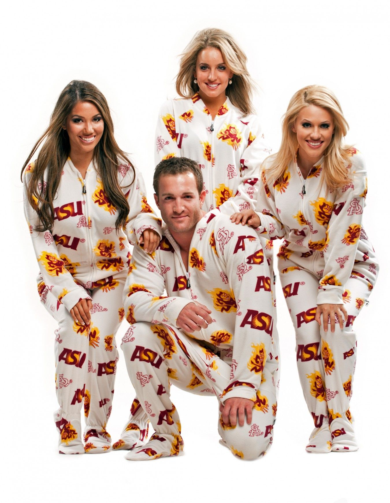 297edca27 Fun footed ASU pj's! Maybe I should get them for the whole family... ha ha!  www.jumpinjammerz.com