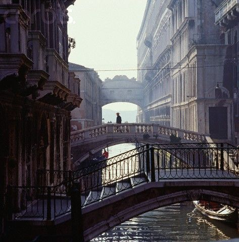 Venice.  The sound of shoes when walking on the wooden bridges at night - no cars....heaven....