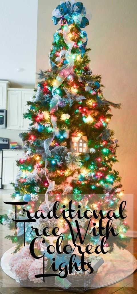 Traditional Christmas Tree With Colored Lights Traditional Christmas Tree Christmas Tree With Coloured Lights Christmas Tree Themes