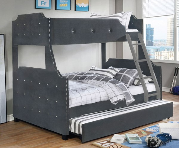 Furniture Of America Jomei Gray Twin Over Full Bunk Bed With
