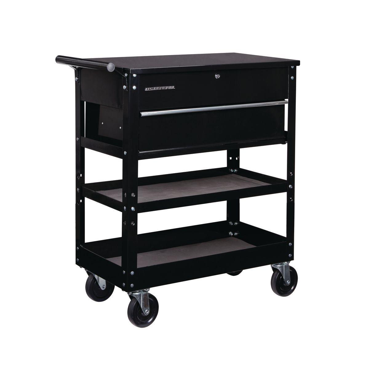 30 In Bulk Storage Black Tech Cart Metal Tool Box Craft Cart Craft Storage