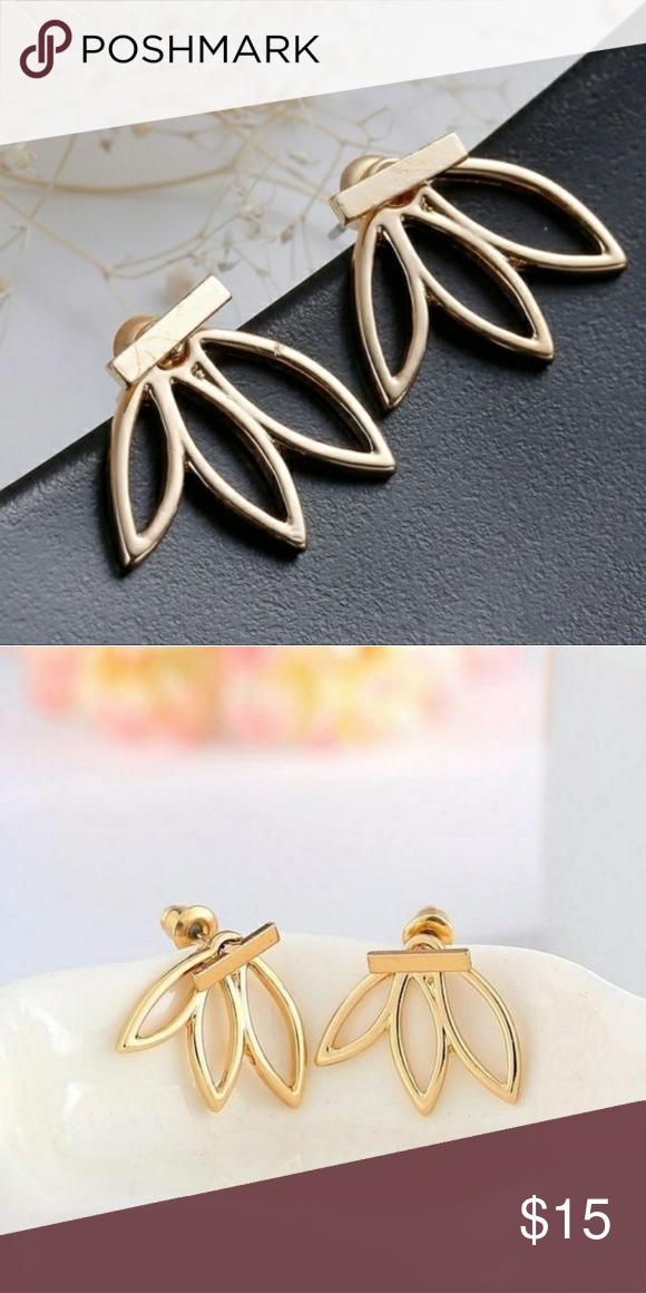 Cute Gold Lotus Flower Earrings Gold Lotus Flower Jacket Earrings