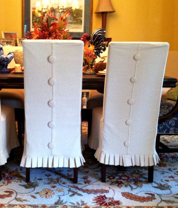 Customer Custom Fabric2 Shabby Chic Parsons Rolled Top Chair Slipcover With Interchangeable Buttons