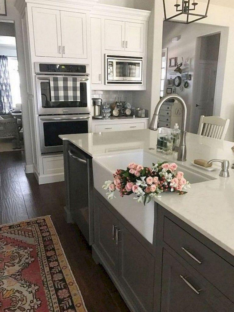 Admirable Farmhouse Grey Kitchen Cabinet Design Ideas  kitchens