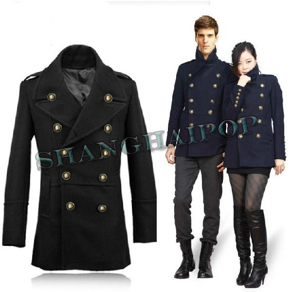 Double Breasted Military Jacket Men Women Wool Blend Coat Peacoat