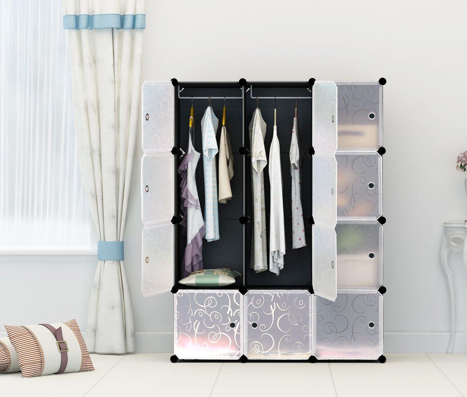 Portable Clothes Closet Wardrobe by KOUSI-Freestanding Storage Organizer with doors  large space and & Portable Clothes Closet Wardrobe by KOUSI-Freestanding Storage ... Pezcame.Com