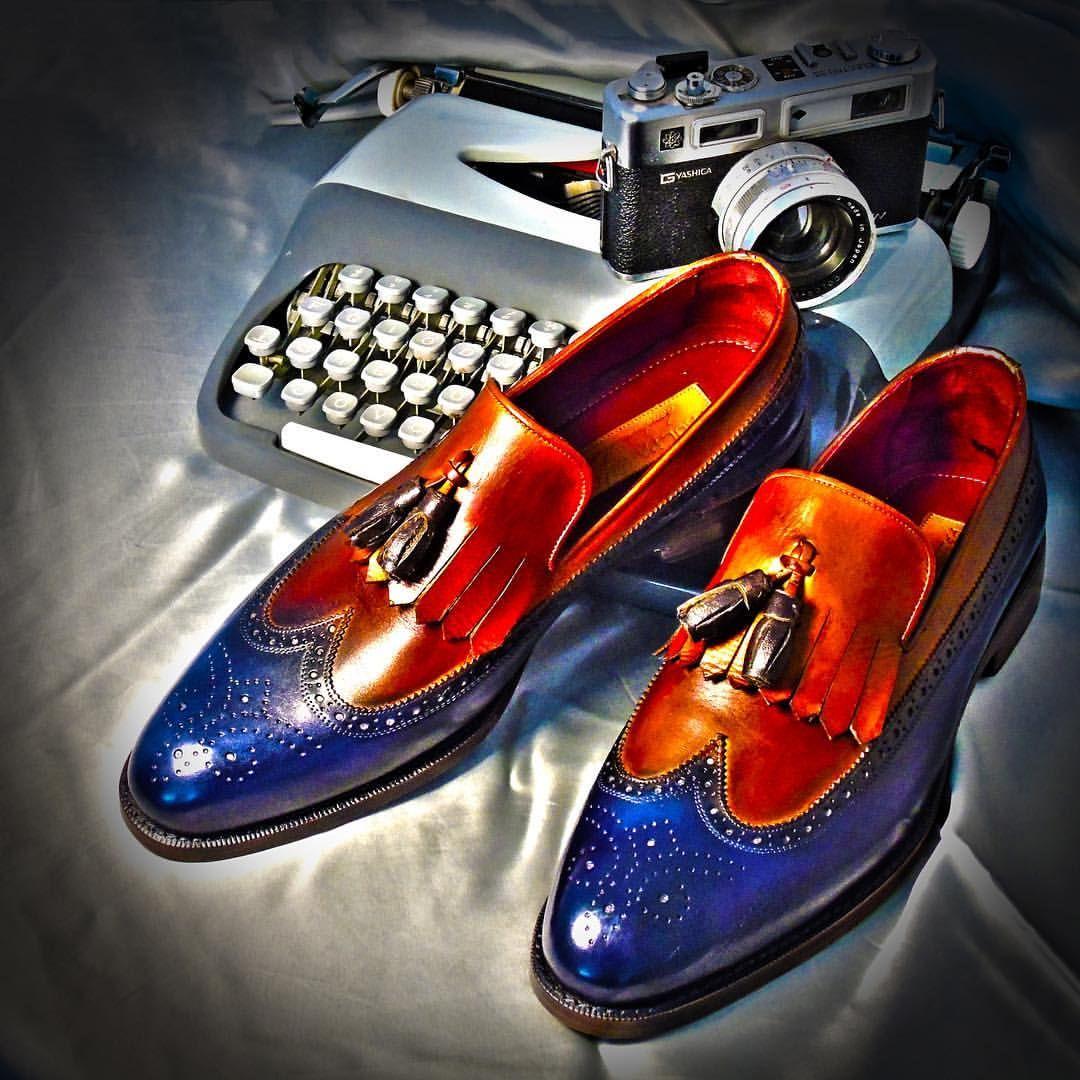Paul Parkman Kiltie Tassel Loafer Navy /& Tobacco  Man/'s Handmade Shoes