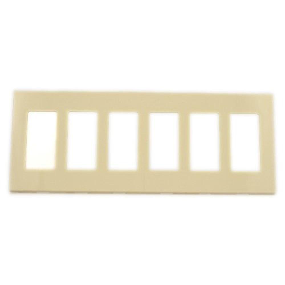 Leviton 6 Gang Decora Screwless Wall Plate Ivory 80326 Si