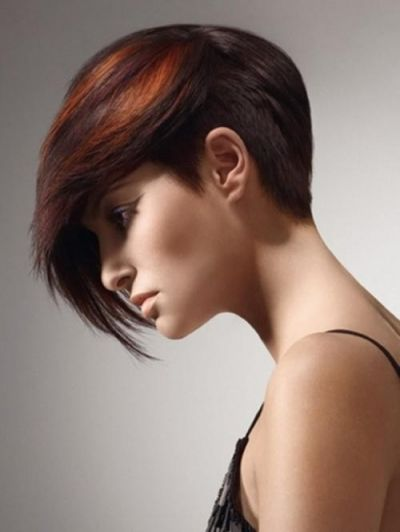 Cute Short Pixie Hairstyle With Long Side Swept Fringe