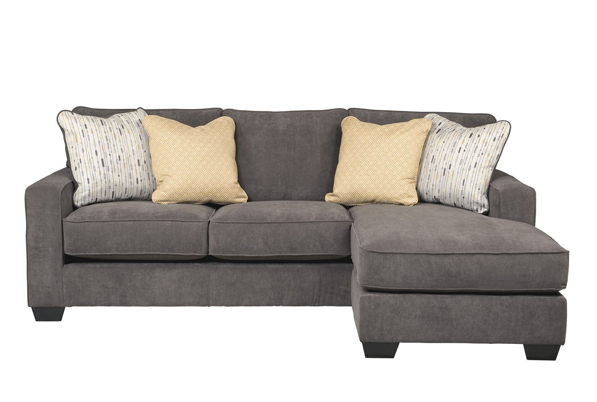 This dark gray sectional sofa is covered in a soft chenille and has