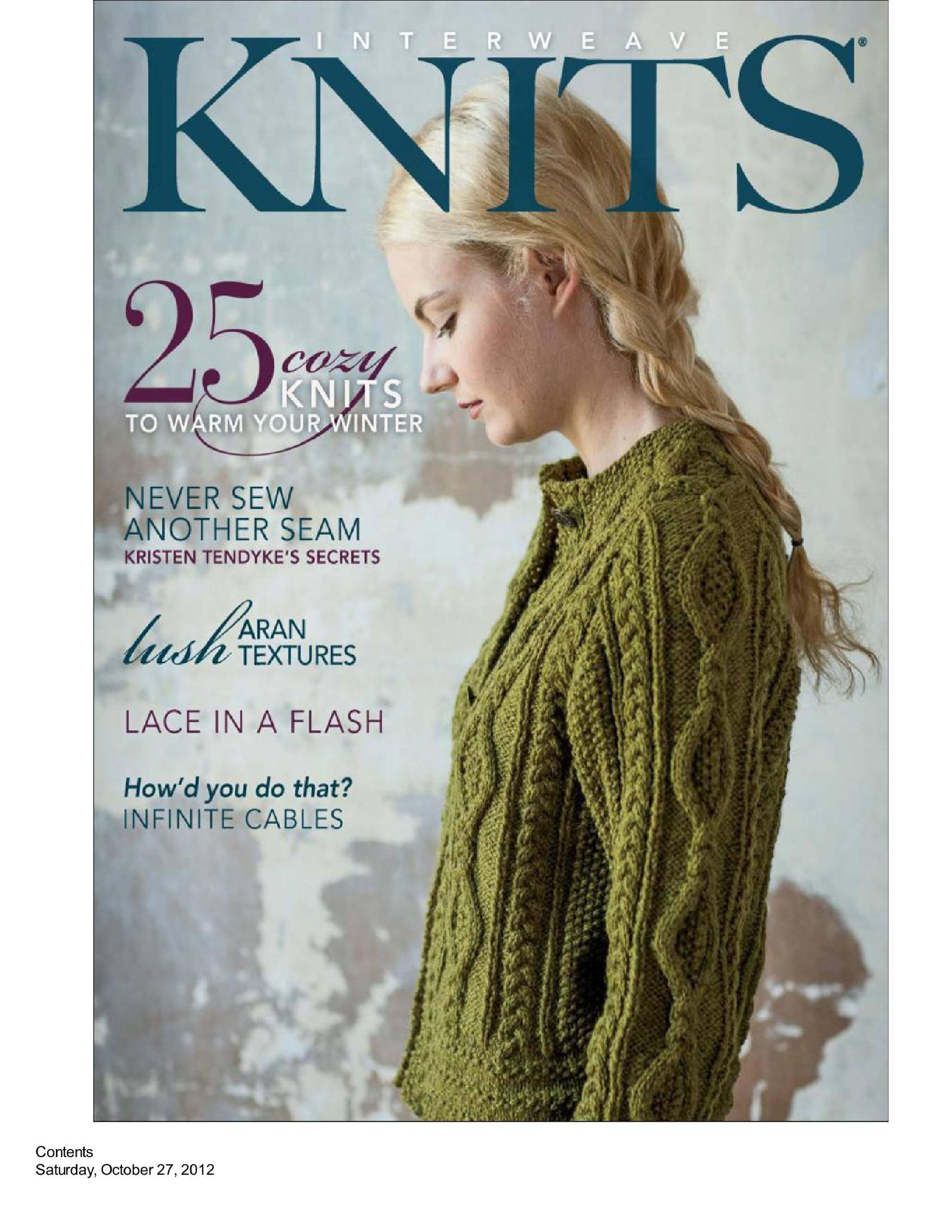 Interweave Knits Winter Pages 1 Of 88 Knit Mags Knitting