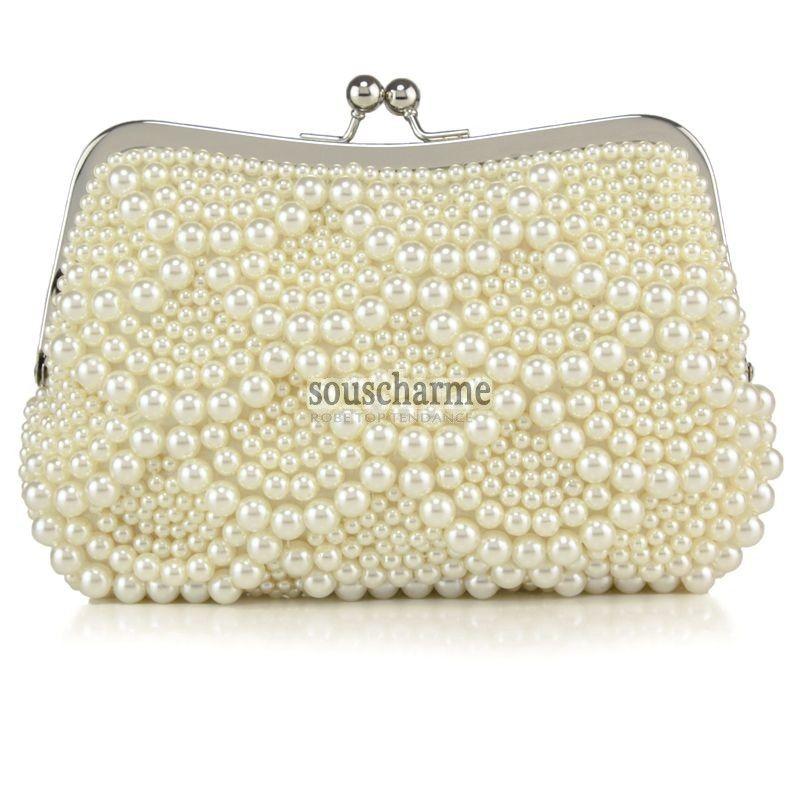 e65f1c0eb6 Pochette mariage ivoire aux perles simili sac à main de mariée pas cher  style ondulé