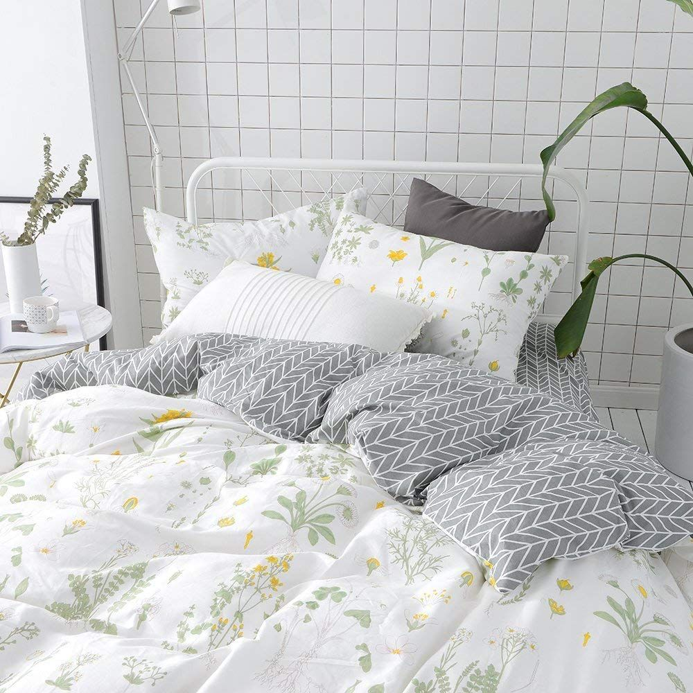 Vclife Floral Duvet Cover Sets Full Queen Bedding Sets White Yellow Flower Branches Design Bedding Duve Cotton Bedding Sets Duvet Cover Sets Queen Bedding Sets