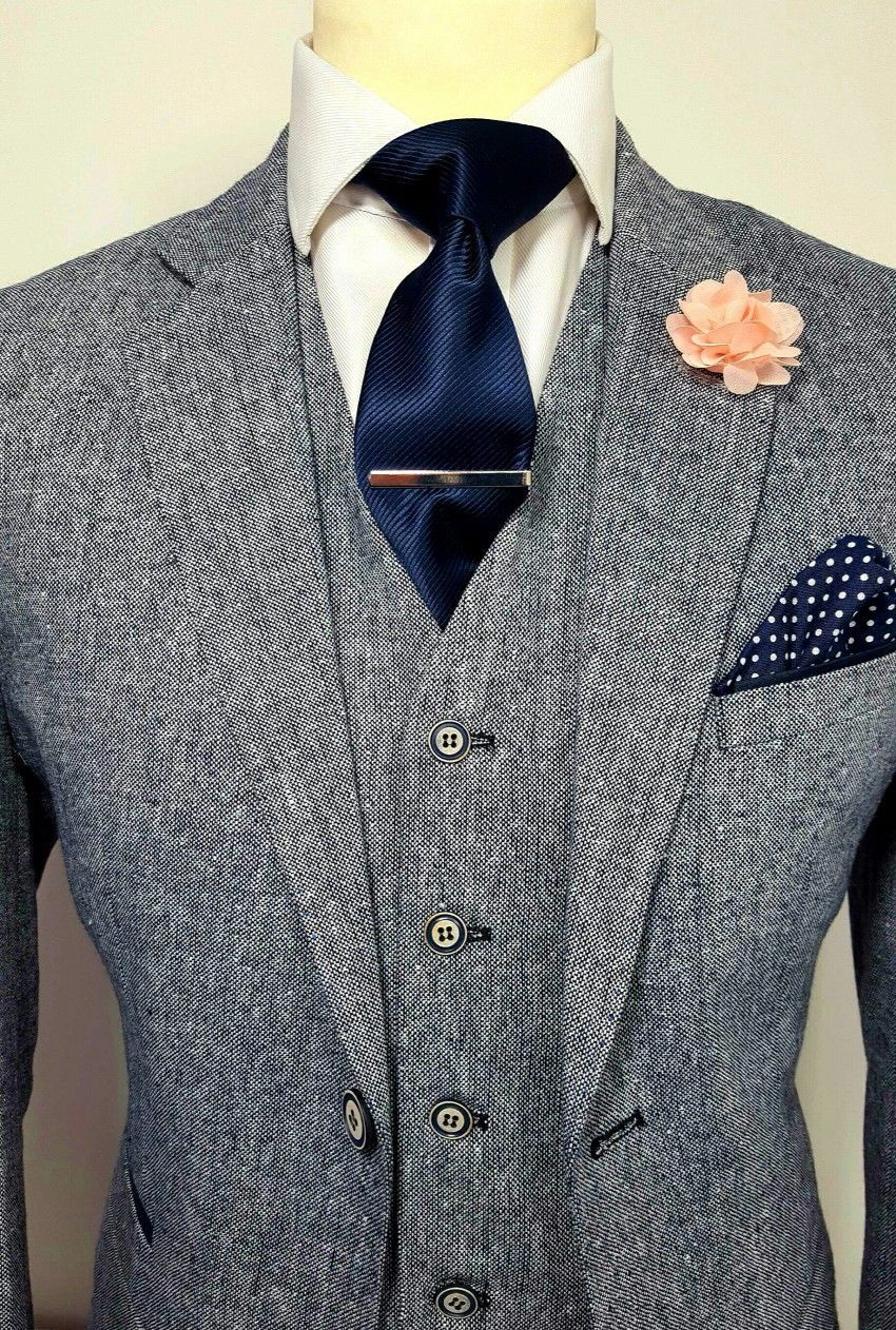 Mens Grey 3 Piece Tweed Suit Wedding Party Prom Tailored Smart Tea