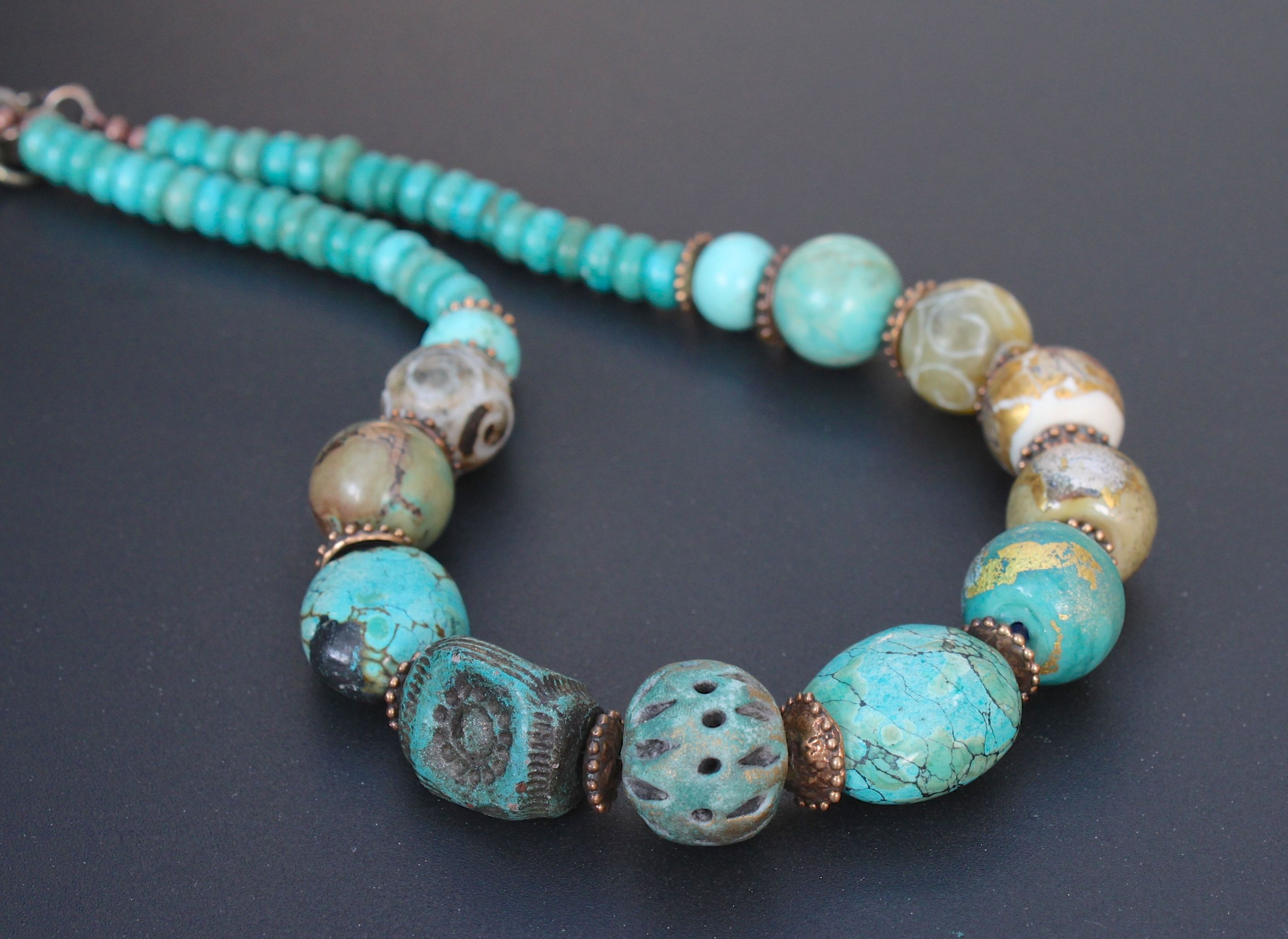 turquoise artisan ceramic lampwork and bronze necklace one of a kind rustic