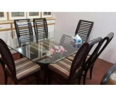 dining table 6 chairs high quality wood available for sale in