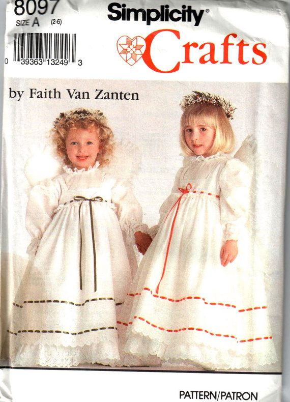 Simplicity 8097 Girls Angel Costume Pattern Dress Pinafore Wings ...