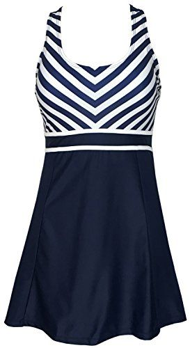 ceb174529843f Women s One Piece Tankini Plus Size Swimdress Sailor Vintage Swimsuit