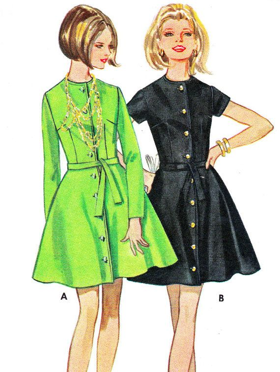 1960s Dress Pattern Butterick 5507 Flared Skirt Mini Dress Front ...