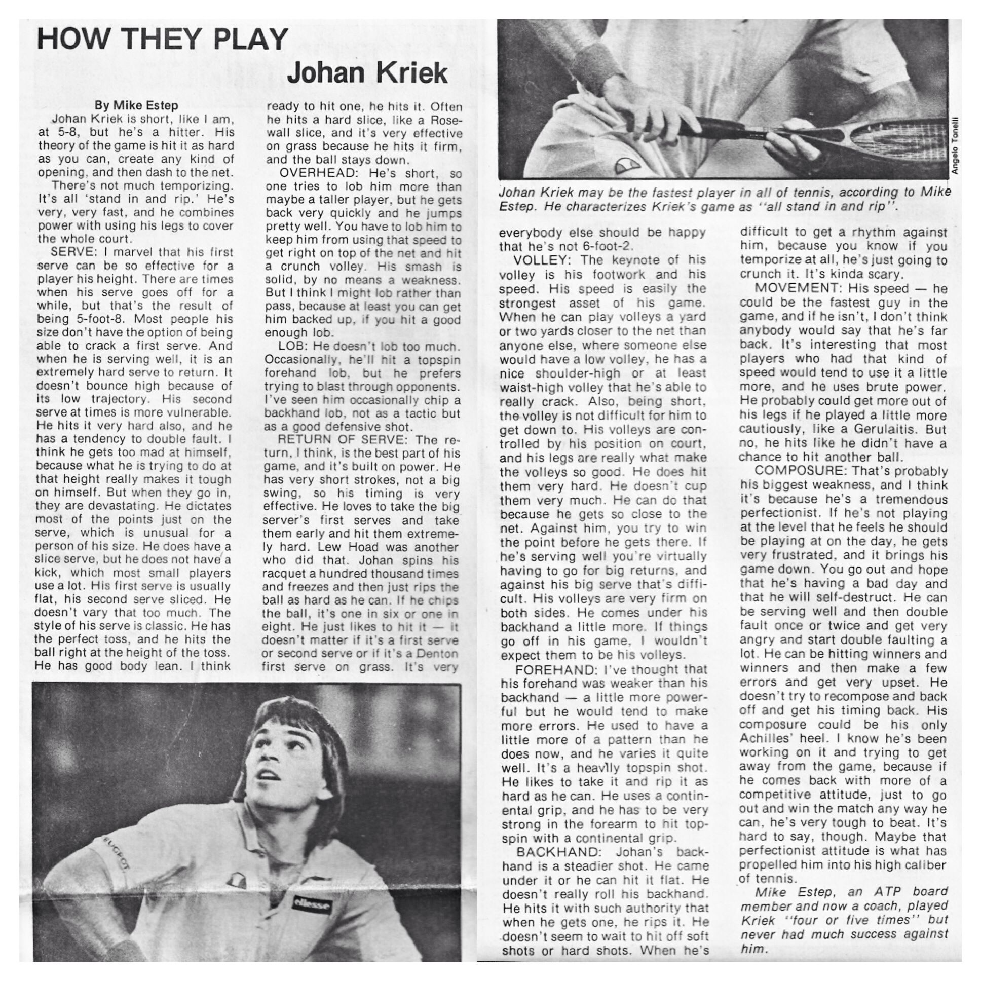 Throwbackthursday Tbt How They Play 1984 Article About Johan Kriek S Game Written By Mike Estep Johan Kriek May Tennis Coach Andre Agassi John Mcenroe