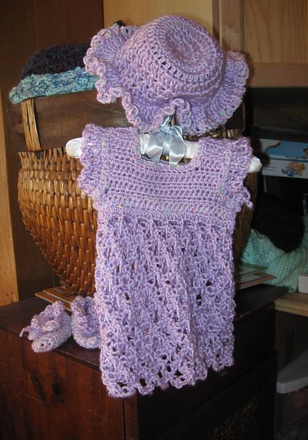 Ravelry Baby Dress With Solomons Knot Skirt Free Pattern By