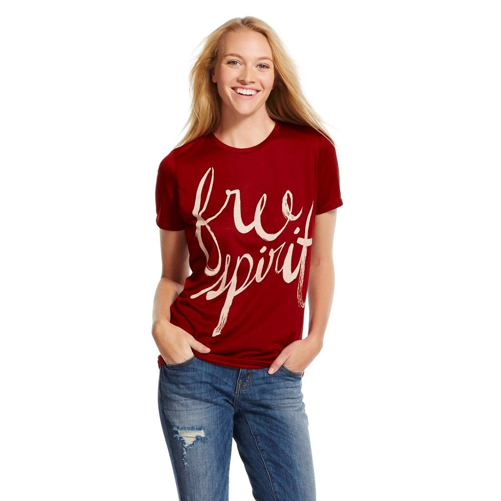 Free Spirit Graphic Tee Burgundy (Red) (S) - Mighty Fine, Women's, Size: Small