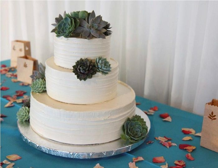 Three Tier White Wedding Cake with succulents | Contemporary white wedding cakes | fabmood.com #weddingcake #wedding #cake #whiteweddingcake #contermporaray #moderncake