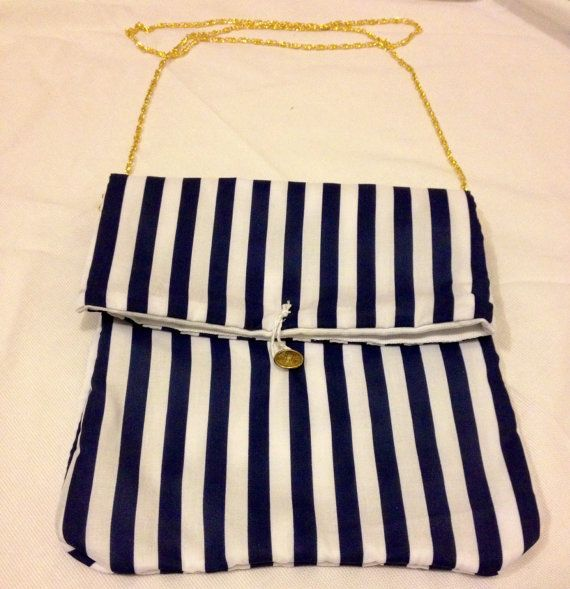 Navy and White Striped Handbag with Gold Chain and by AmisIdeas https://www.etsy.com/uk/listing/183146331/navy-and-white-striped-handbag-with-gold#